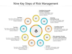Nine Key Steps Of Risk Management Ppt PowerPoint Presentation Gallery Infographic Template PDF
