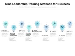 Nine Leadership Training Methods For Business Ppt PowerPoint Presentation Outline Infographics PDF
