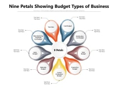 Nine Petals Showing Budget Types Of Business Ppt PowerPoint Presentation Ideas Background Image PDF