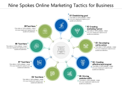Nine Spokes Online Marketing Tactics For Business Ppt PowerPoint Presentation Gallery Background Designs PDF