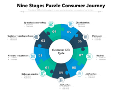 Nine Stages Puzzle Consumer Journey Ppt PowerPoint Presentation Styles Layout PDF