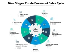 Nine Stages Puzzle Process Of Sales Cycle Ppt PowerPoint Presentation Styles Graphics Download PDF