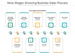 Nine Stages Showing Business Sales Process Ppt PowerPoint Presentation Gallery Skills PDF