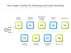 Nine Stages Timeline For Marketing And Project Branding Ppt PowerPoint Presentation Gallery Graphics Download PDF