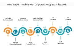 Nine Stages Timeline With Corporate Progress Milestones Ppt PowerPoint Presentation File Elements PDF