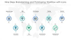 Nine Steps Brainstorming And Prototyping Workflow With Icons Ppt PowerPoint Presentation File Model PDF