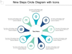 Nine Steps Circle Diagram With Icons Ppt PowerPoint Presentation Sample