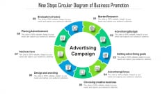 Nine Steps Circular Diagram Of Business Promotion Ppt Infographic Template Gridlines PDF