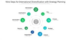 Nine Steps For International Diversification With Strategy Planning Ppt Powerpoint Presentation Gallery Rules PDF
