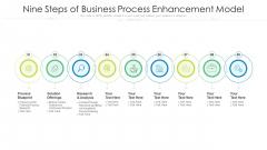 Nine Steps Of Business Process Enhancement Model Ppt PowerPoint Presentation File Graphics Design PDF