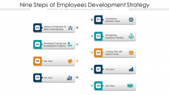 Nine Steps Of Employees Development Strategy Ppt PowerPoint Presentation File Graphics Download PDF