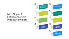 Nine Steps Of Entrepreneurship Process With Icons Ppt PowerPoint Presentation Gallery Slides PDF