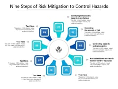 Nine Steps Of Risk Mitigation To Control Hazards Ppt PowerPoint Presentation Gallery Example PDF