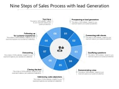 Nine Steps Of Sales Process With Lead Generation Ppt PowerPoint Presentation File Icon PDF