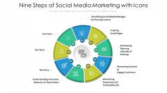Nine Steps Of Social Media Marketing With Icons Ppt PowerPoint Presentation Gallery Infographics PDF