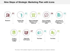 Nine Steps Of Strategic Marketing Plan With Icons Ppt Powerpoint Presentation Infographic Template Slide