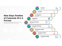 Nine Steps Timeline Of Corporate M And A Process Ppt PowerPoint Presentation Gallery Graphics Example PDF