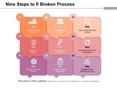 Nine Steps To Fi Broken Process Ppt PowerPoint Presentation Layouts Slide Download PDF