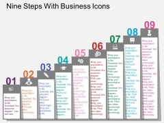 Nine Steps With Business Icons Powerpoint Templates