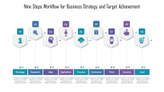 Nine Steps Workflow For Business Strategy And Target Achievement Ppt PowerPoint Presentation File Example Introduction PDF