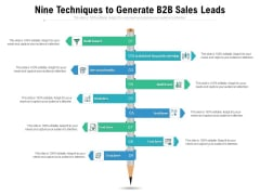 Nine Techniques To Generate B2B Sales Leads Ppt PowerPoint Presentation Outline Sample PDF