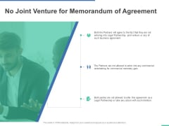 No Joint Venture For Memorandum Of Agreement Ppt PowerPoint Presentation Ideas Files
