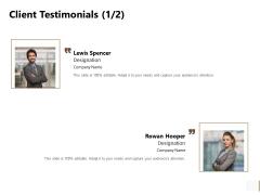 Non Profit Organization Sponsorship Proposal Client Testimonials Communication Template PDF