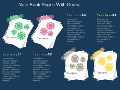 Note Book Pages With Gears Powerpoint Template