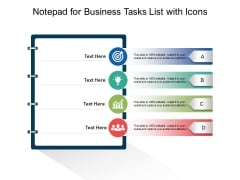 Notepad For Business Tasks List With Icons Ppt PowerPoint Presentation Ideas Maker PDF