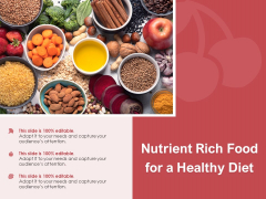Nutrient Rich Food For A Healthy Diet Ppt PowerPoint Presentation Professional Portfolio