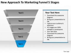 New Approach To Marketing Funnel 5 Stages Ppt Business Plan Example PowerPoint Templates