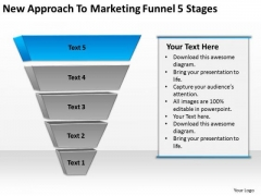 New Approach To Marketing Funnel 5 Stages Ppt Business Plan Template PowerPoint Slides