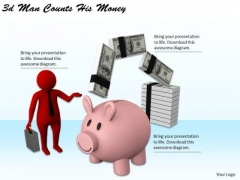 New Business Strategy 3d Man Counts His Money Adaptable Concepts