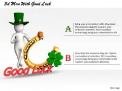 New Business Strategy 3d Man With Good Luck Characters