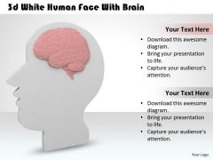 New Business Strategy 3d White Human Face With Brain Basic Concepts