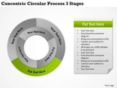 New Business Strategy Concentric Circular Process 3 Stages Plan