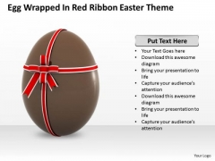 New Business Strategy Egg Wrapped Red Ribbon Easter Theme Images Photos