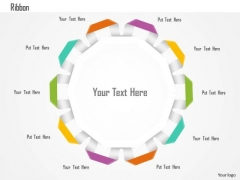 Nine Staged Circular Ribbon Text Box Diagram Presentation Template