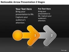 Noticeable Arrow Presentation 2 Stages Free Examples Of Business Plan PowerPoint Slides