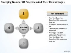 Number Of Processes And Their Flow 4 Stages Circular Spoke Diagram PowerPoint Slides