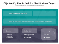 Objective Key Results OKRS To Meet Business Targets Ppt PowerPoint Presentation Gallery Graphics Pictures PDF