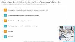 Objectives Behind The Selling Of The Companys Franchise Icons PDF