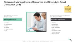 Obtain And Manage Human Resources And Diversity In Small Companies Primary Slides PDF