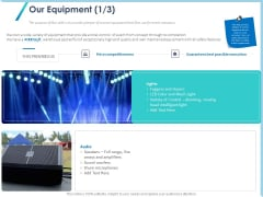 Occasion Planning Firm Overview Our Equipment Audio Ppt Model Designs Download PDF