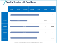 Occasion Planning Firm Overview Weekly Timeline With Task Name Ppt Styles Deck PDF