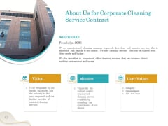 Office Cleaning Service About Us For Corporate Cleaning Service Contract Ppt Slides Diagrams PDF