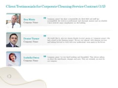 Office Cleaning Service Client Testimonials For Corporate Cleaning Service Contract Ppt Portfolio Gridlines PDF