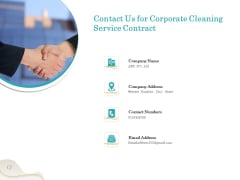 Office Cleaning Service Contact Us For Corporate Cleaning Service Contract Ppt Icon Files PDF