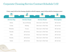 Office Cleaning Service Corporate Cleaning Service Contract Schedule Ppt Styles Clipart PDF