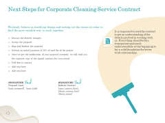 Office Cleaning Service Next Steps For Corporate Cleaning Service Contract Ppt Pictures Master Slide PDF